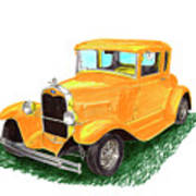 1932 Yellow Ford Hot Rod Coupe Art Print