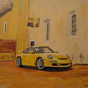 Yellow Gt3 Porsche Art Print
