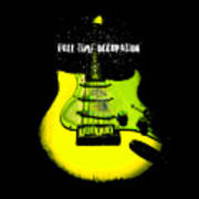Yellow Guitar Full Time Occupation Art Print