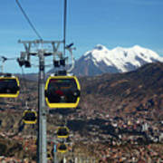 Yellow Line Cable Cars And Mt Illimani La Paz Bolivia Art Print
