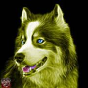 Yellow Modern Siberian Husky Dog Art - 6024 - Bb Art Print