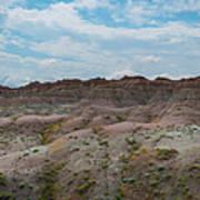 Yellow Mounds Panorama At Badlands South Dakota Art Print