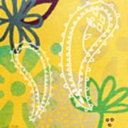 Yellow Paisley Garden Art Print