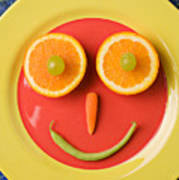 Yellow Plate With Food Face Print by Garry Gay