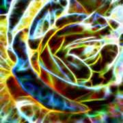 Yellow Rose Fractal Art Print
