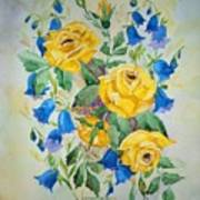 Yellow Roses And Blue Bells Art Print