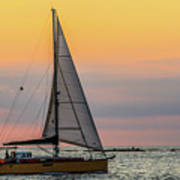 Yellow Sailboat At Sunrise Art Print