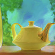 Yellow Teapot And Bowl Art Print