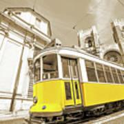 yellow tram Lisbon Art Print