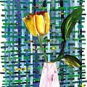 Yellow Tulip In A Pink Vase Art Print