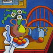 Yellow Vase With Blue Teapot Art Print