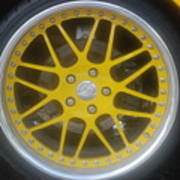 Yellow Vette Wheel Art Print