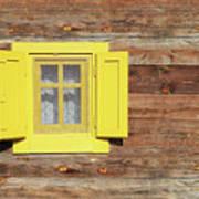 Yellow Window On Wooden Hut Wall Art Print