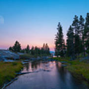 Yellowstone National Park Sunset And Moon Art Print