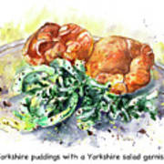 Yorkshire Puddings With Yorkshire Salad Garnish Art Print