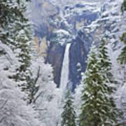 Yosemite Falls In The Snow Art Print