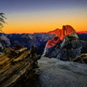Yosemite National Park Glacier Point Half Dome Sunset Art Print