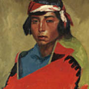 Young Buck Of The Tesuque Pueblo Art Print