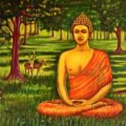 Young Buddha Meditating In The Forest Art Print