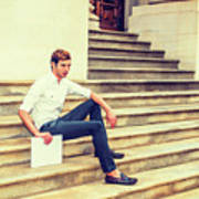 Young Businessman Sitting On Stairs, Relaxing Outside Art Print