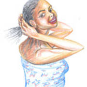 Young Cameroun Woman Tying Her Hair Art Print