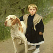 Young Child And A Big Dog Print by Luigi Toro