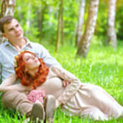 Young Couple In The Park Art Print