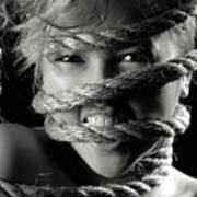 Young Expressive Woman Tied In Ropes Art Print