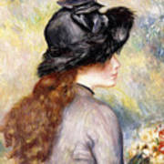 Young Girl Holding A Bouquet Of Tulips, Art Print