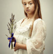 Young Girl Holding Lavender Art Print