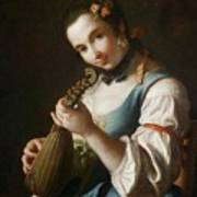 Young Girl Playing Musical Instrument Art Print