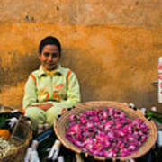 Young Girl Selling Rose Petals In The Medina Of Fes Morroco Art Print