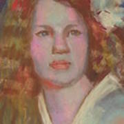 Young Girl With Flower In Her Hair Art Print
