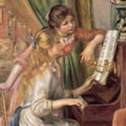 Young Girls At The Piano Art Print by Pierre Auguste Renoir