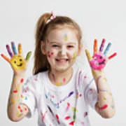 Young Kid Showing Her Colorful Hands Art Print