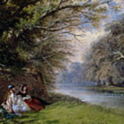 Young Ladies By A River Art Print by John Edmund Buckley