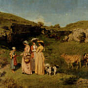Young Ladies Of The Village By Gustave Courbet, 1851-1852 Art Print
