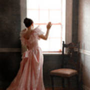 Young Lady In Pink Gown Looking Out Window Art Print