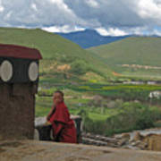 Young Monk Looking Over His Shoulder Art Print