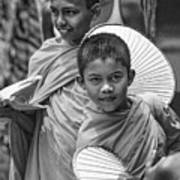 Young Monks 2 Bw Art Print