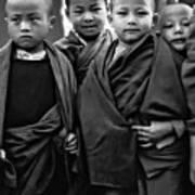 Young Monks II Bw Art Print