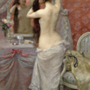 Young Nude Woman Styling In An Interior Art Print