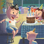 Young Pig Birthday Party Art Print by Martin Davey