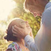 Young Romantic Couple Flirting In Sunshine Art Print