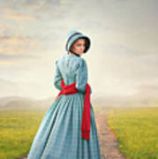 Young Victorian Woman On A Country Path Art Print