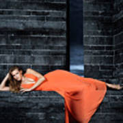 Young Woman In Long Orange Dress Art Print