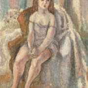 Young Woman In White Chemise Art Print