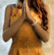 Young Woman Praying Print by Jill Battaglia