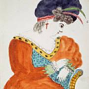 Young Woman Wearing A Turban  Art Print
