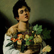 Youth With A Basket Of Fruit Art Print by Michelangelo Merisi da Caravaggio